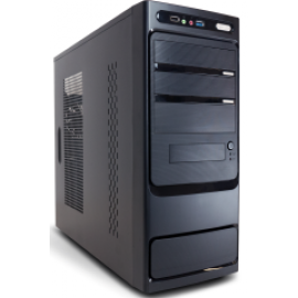 SUPERCASE PC CHASSIS SK 502, MIDI TOWER ATX, BLACK, W/O PSU, 8CM REAR FAN, 2YW.