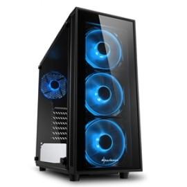 SHARKOON PC CHASSIS TG4 BLUE, MIDI TOWER ATX, BLACK, W/O PSU, 3x12CM FRONT BLUE LED FAN, 1x12CM REAR BLUE LED FAN, 2YW.