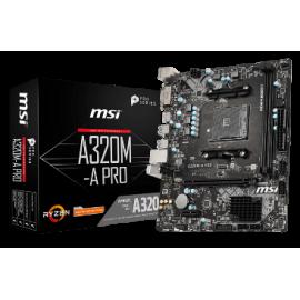 MSI MB A320M-A PRO, SOCKET AMD AM4, CS AMD A320, 2 DIMM SOCKETS DDR4, DVI-D/HDMI, LAN GIGABIT, MICRO-ATX, 3YW.