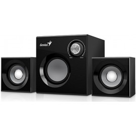 GENIUS SPEAKERS SW-2.1 370, 2 SATELLITES & 1 SUBWOOFER, 8W RMS, 2x1W SAT & 6W SUBWOOFER, BLACK WOOD, 2YW.