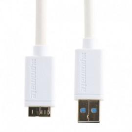 Promate LinkMate-U4L Καλώδιο Σύνδεσης και Φόρτισης USB Type-A σε Micro-B USB 3m - Λευκό